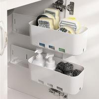 Caja de almacenamiento para el fregadero, organizador de pared sin perforación, cajón de plástico para botellas de especias, estante de cocina y baño, 1 Juego