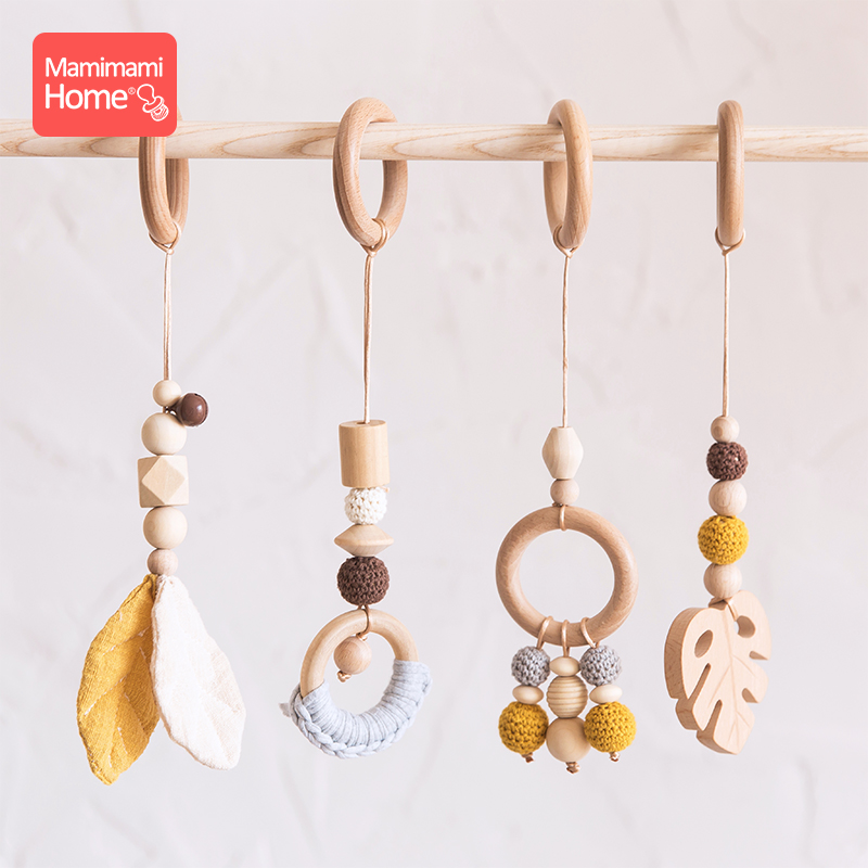 Image 4 - Baby Wooden Teether Pendant Baby Play Gym Set Sensory Ring Pull Beech Ring Crochet Bead ChildrenS Goods Wooden Blank Cotton ToyBaby Teethers   -