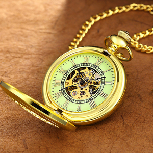 Image 5 - New Luminous Hand Winding Mechanical Pocket Watch Classical Bronze Openwork Pendant Vintage Hollow Cover Analog for Men Gift