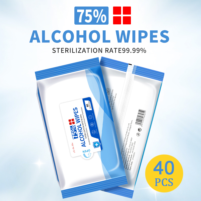 40pcs Disposable 75% Alcohol Wipes Portable Hand Towel Wash Skin Cleaning Care Sterilization Disinfection Wipes For Antiseptic