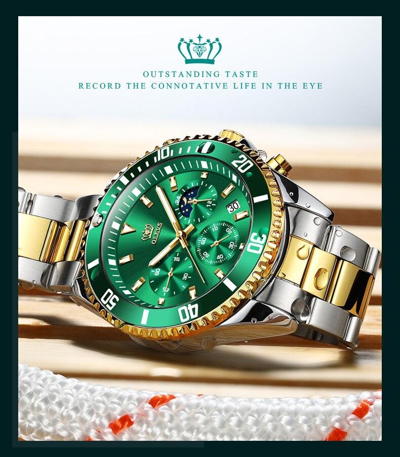 multi-função relógio automático cronógrafo três-olho verde água ghost relógio para homem
