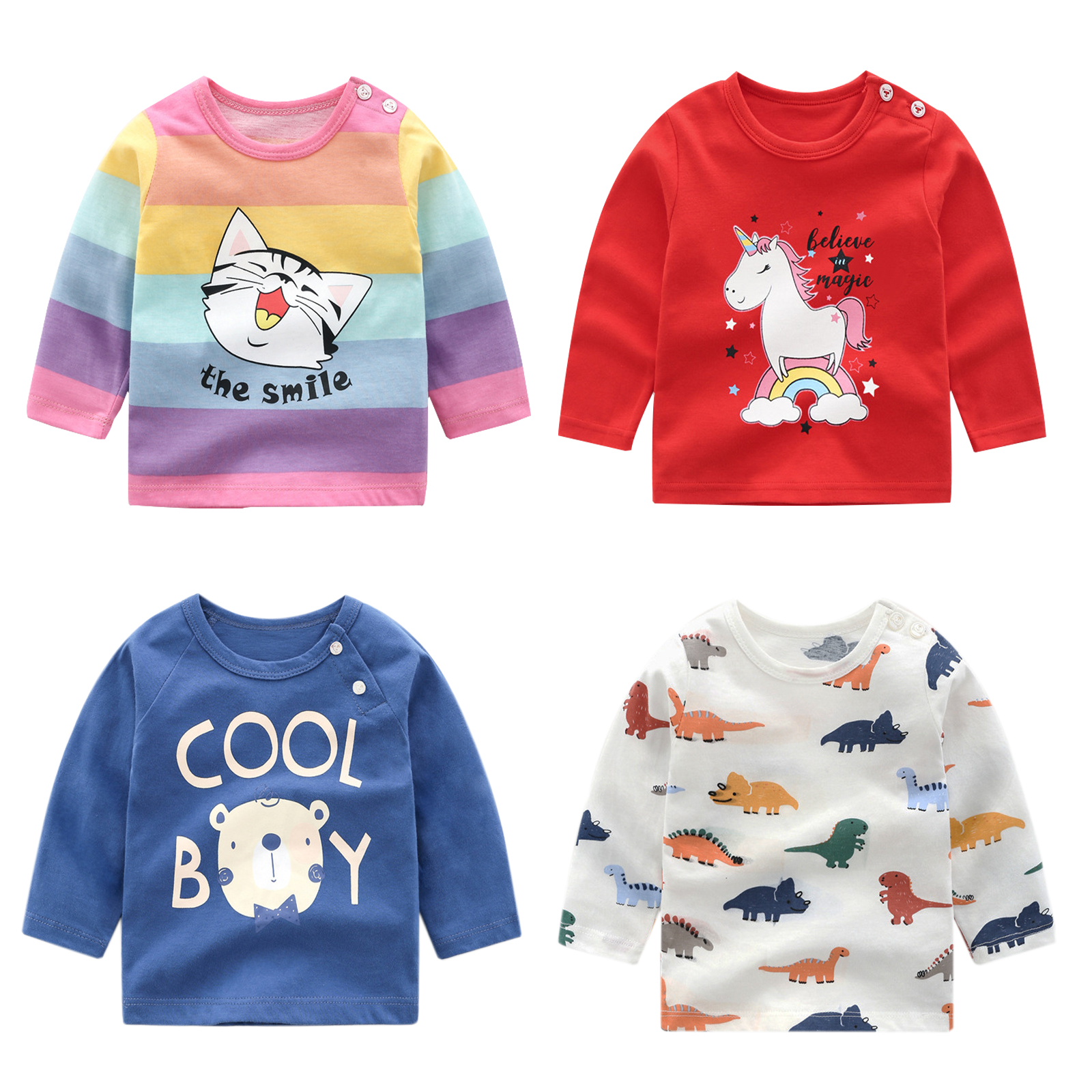 Cotton T-Shirt Clothing Tees Long-Sleeve Baby-Boys-Girls Kids Winter Children Cartoon title=