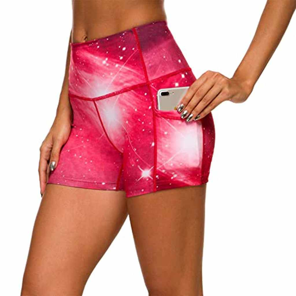 เซ็กซี่ Tie-DYE กางเกงขาสั้นโยคะสตรีฟิตเนส GYM กระเป๋าเอวสูงโยคะ Legging สุภาพสตรีกีฬาการออกกำลังกายกระชับนักกีฬากางเกง
