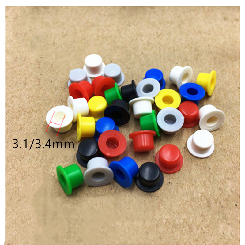 100PCS 6*6 Tact Switch A101 Button Switch Round Caps Push Key Cap Size 4.5mm*7.4mm Inner Diameter  3.1 / 3.4mm