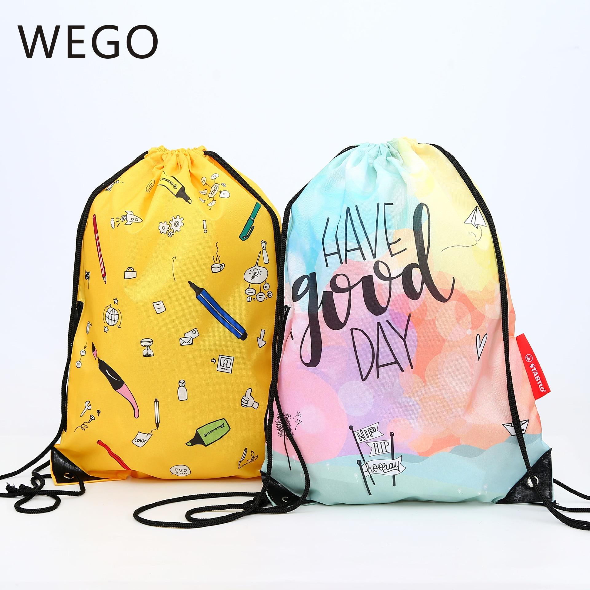 Drawstring Drawer Bag Color Portable Shopping Bag Customized Color Drawstring 210D Polyester Backpack Green Shopping Bag