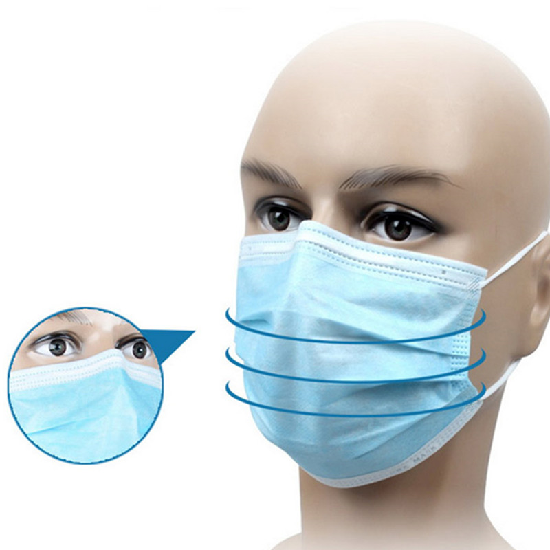 Image 2 - 2/5/10/50Pcs 3 Ply Anti Dust Disposable Surgical Medical Salon Earloop Face Mouth Masks White/Pink/Blue/Purple