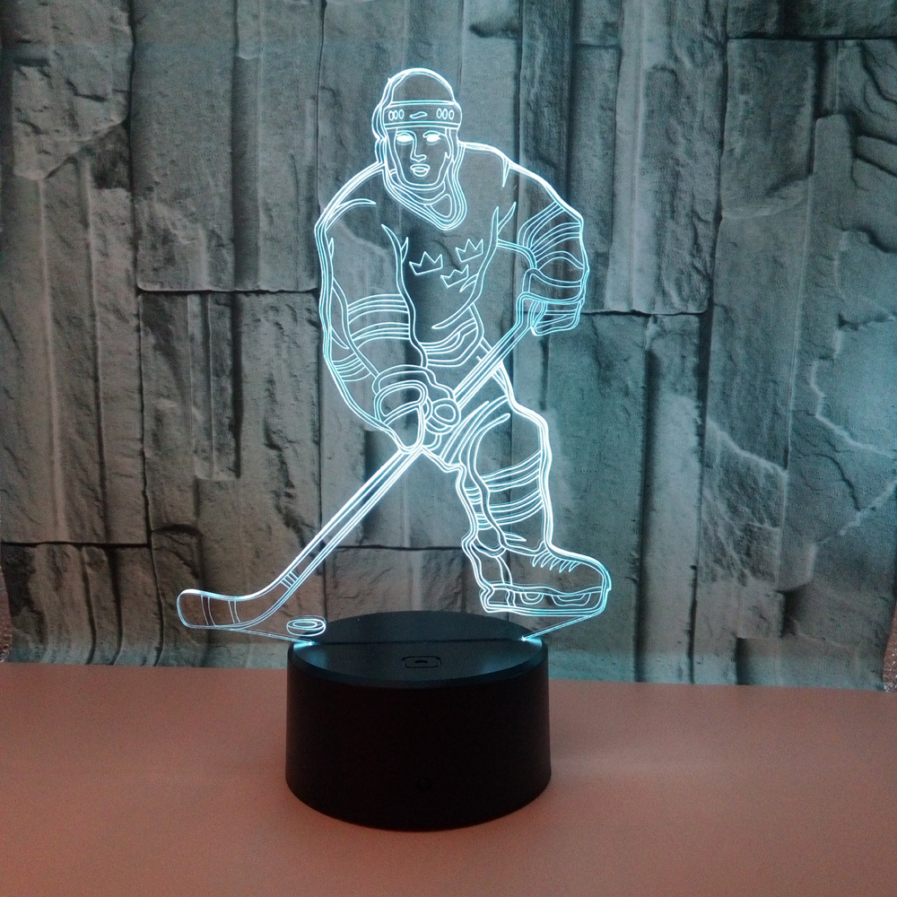 Hockey Night Light,  Hockey Player 3D Lamp Lighting 7  Color Changing Touch Table Desk Lamps  For Sports Hockey Fan
