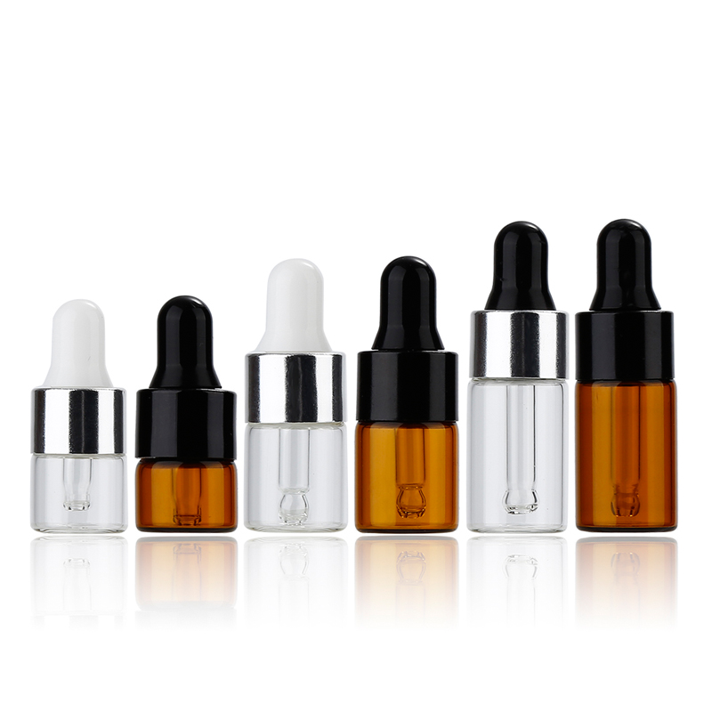20Pcs 1ml/2ml/3ml Glass Amber Essential Oil Dropper Bottles Aluminum Cap Reagent Drop Eye Liquid Pipette Aromatherapy Containers