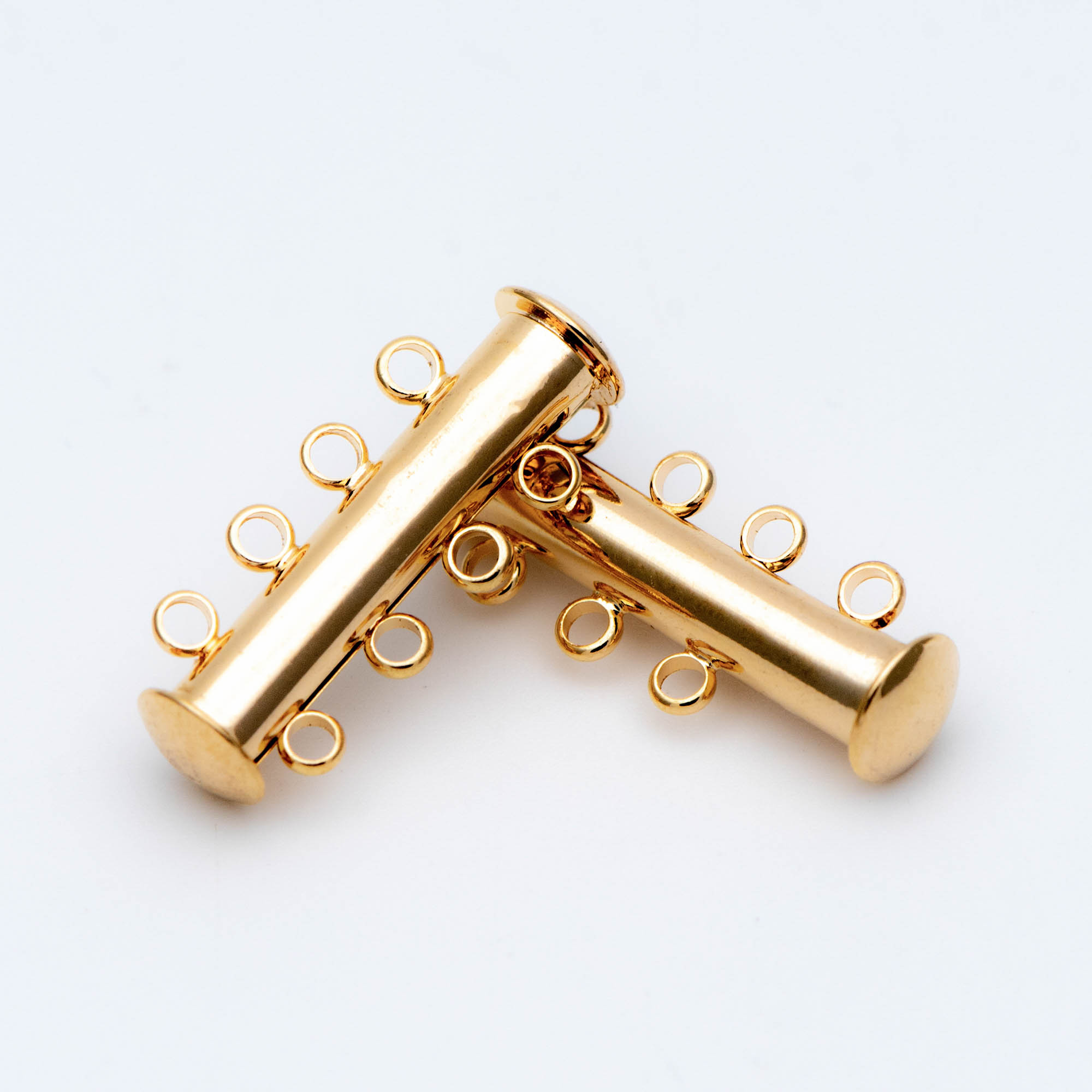 Tube Clasps 4 Rings,Real Gold Plated Brass, Tube Clasp,4 Strand Tube Clasp, Slide Lock Clasp, Bar Clasp (GB-673)