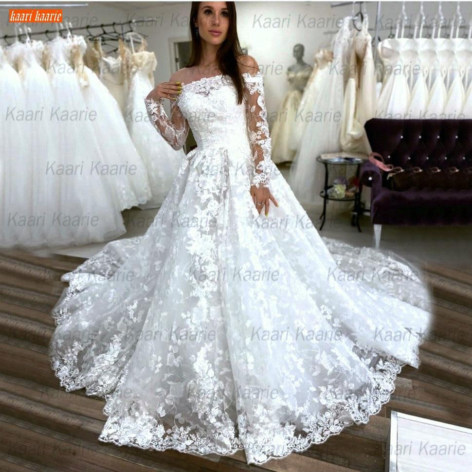 Luxuriöse Spitze Hochzeit Kleid Lange Ärmel Off Schulter Weiß