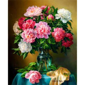 Image 1 - YANXIN DIY ציור מסגרת מספרי פרחי תמונות מלא ערכות אקריליק צבע על בד בית תפאורה תמונות RSB8169
