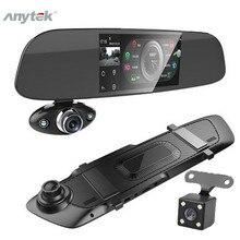 """רכב דאש מצלמה כפולה 5 """"1080P FHD רכב DVR מגע מראה אחורית מצלמה g חיישן מקליט ראיית לילה עדשה כפולה דאש מצלמת B33"""