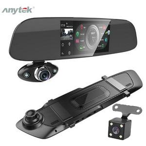 "Image 1 - רכב דאש מצלמה כפולה 5 ""1080P FHD רכב DVR מגע מראה אחורית מצלמה g חיישן מקליט ראיית לילה עדשה כפולה דאש מצלמת B33"