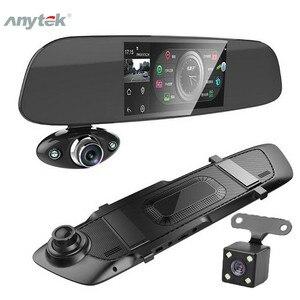 """Image 1 - Traço do carro câmera dupla 5 """"1080p fhd carro dvr toque espelho retrovisor câmera g sensor gravador de visão noturna lente dupla traço cam b33"""