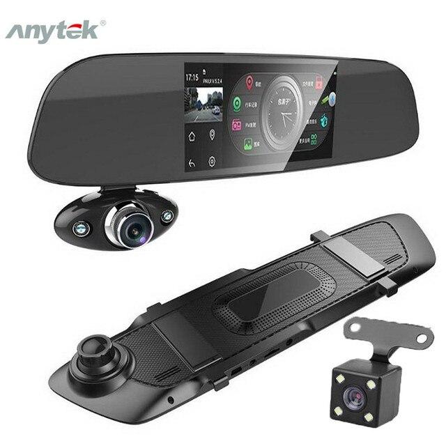 """Traço do carro câmera dupla 5 """"1080p fhd carro dvr toque espelho retrovisor câmera g sensor gravador de visão noturna lente dupla traço cam b33"""