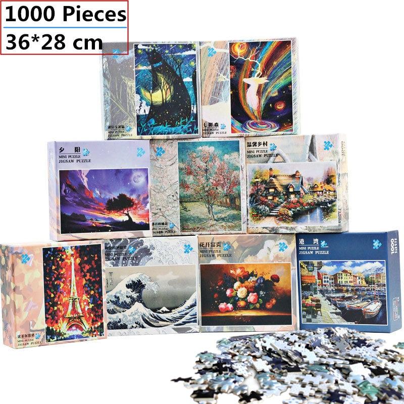 Mini Jigsaw Puzzle 1000 Pieces 38x26 Cm Landscape Assembling Picture Puzzle For Adults Educational Toys Puzzles Pare Adultos