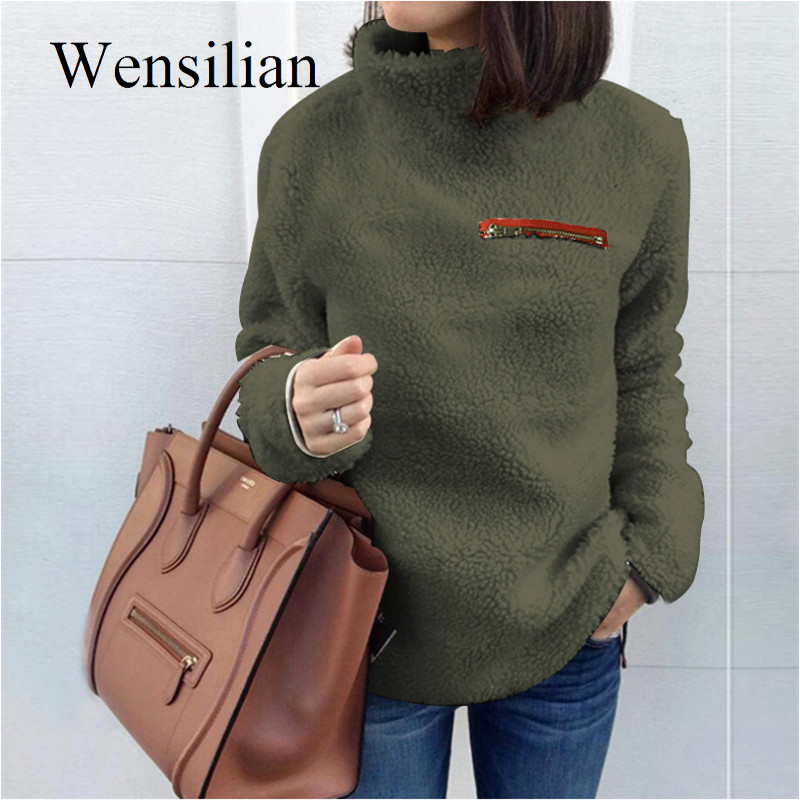Casual Sweater Women Clothing Turtleneck Sweater Fashion Fluffy Pullover Autumn Winter Long Sleeve Sweater Sueter Mujer Invierno