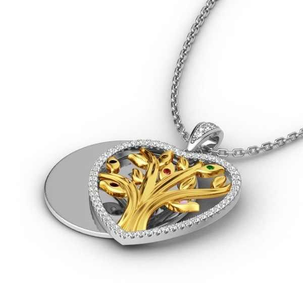 เครื่องประดับคุณภาพสูงสุภาพสตรี Tree of Life TWO TONE GOLD Heart Shape Zircon จี้สร้อยคอน่ารักวันเกิดครบรอบ