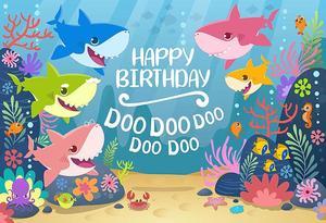 Image 3 - Cartoon Sea Shark Doo Photography Backdrop Baby Kids Birthday Party Photo Background Under The Sea Blue Vinyl  Photo Booth Props