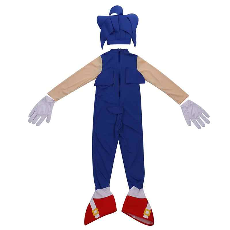 Recién llegado niños impresionante Speedy azul heroico erizo vídeo personaje del juego Sonic más rápido truco o tratamiento niños Halloween disfraz