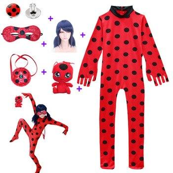 Black Cat Nior Clothes Fancy Lady Bug Halloween Costumes Children Spandex Ladybug for Kids Suit Wig Bag Girls Xmas Set