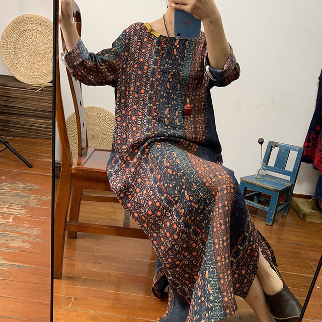Original upscale dark flower pure ramie gown dress loose long retro linen women's dress spring and summer thin 2