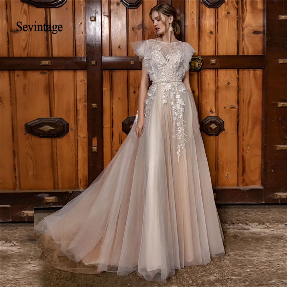 Sevintage A Line Boho Wedding Dresses Cap Sleeves Lace Appliqued Beach Bridal Gowns Custom Made Vestido De Noiva Princesa