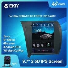 EKIY – autoradio multimédia Android 10, 6 go/128 go, navigation GPS, stéréo, 2 DIN, écran Vertical type Tesla, pour voiture KIA CERATO K3 FORTE (2013 – 2017)