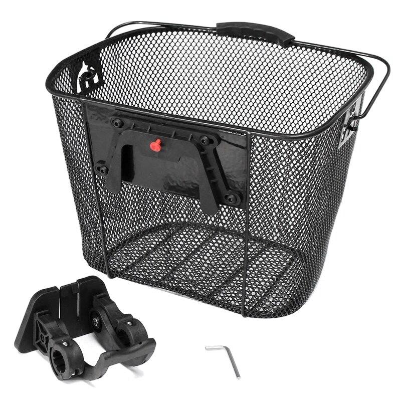 For Mountain Bikes Front Folding Baskets Bicycle Metal Baskets Cycling Backsplash Quick Release Shopping Basket