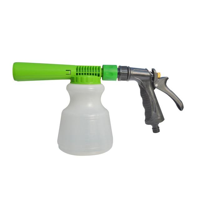 Pistola de espuma de lavado de coches de baja presión, Cañón de espuma para nieve, boquilla de espuma, manguera de agua, botella de 1L