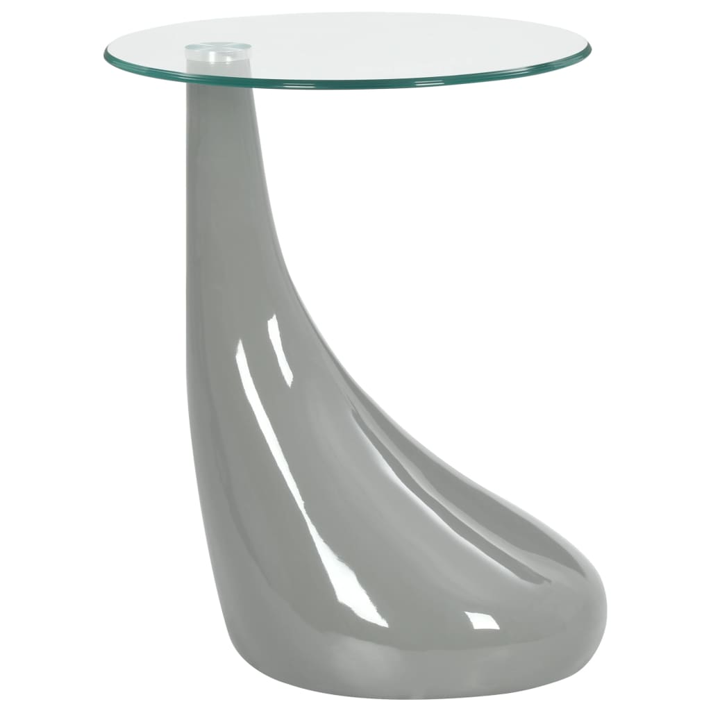 VidaXL Coffee Table With Round Glass Top High Gloss Grey