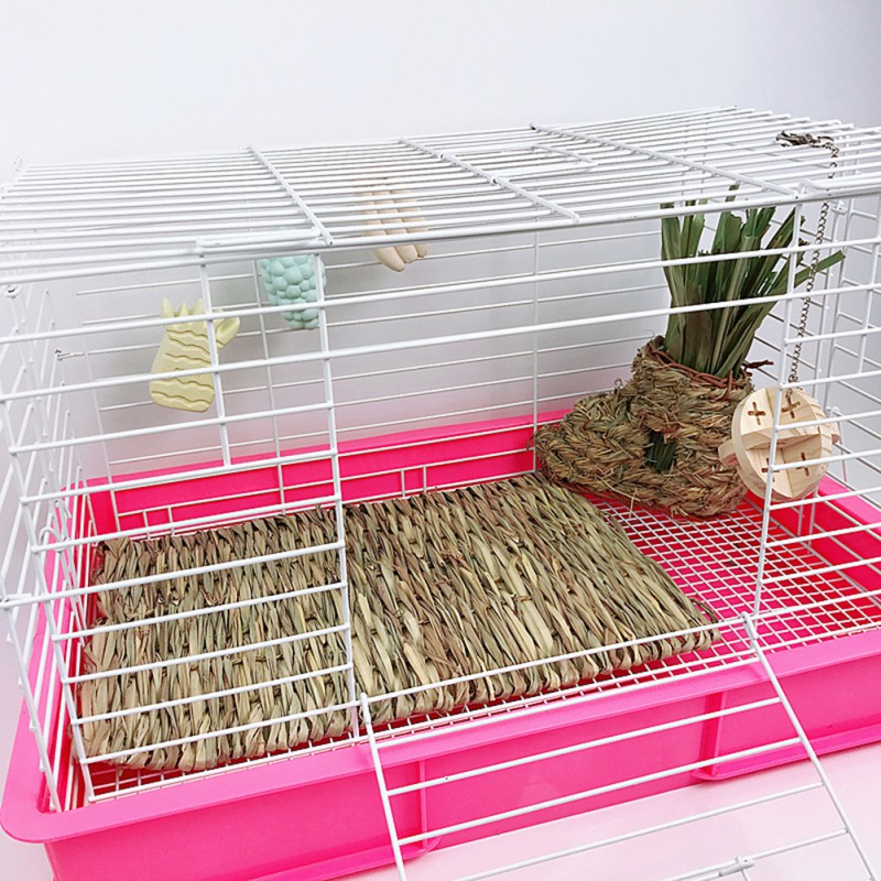 Hamster Grass Weaving Mat Small Pet Nest Squirrel Guinea Pig Ferret Rabbit Edible Molar Handmade Hay Mat Pets Cage Accessory