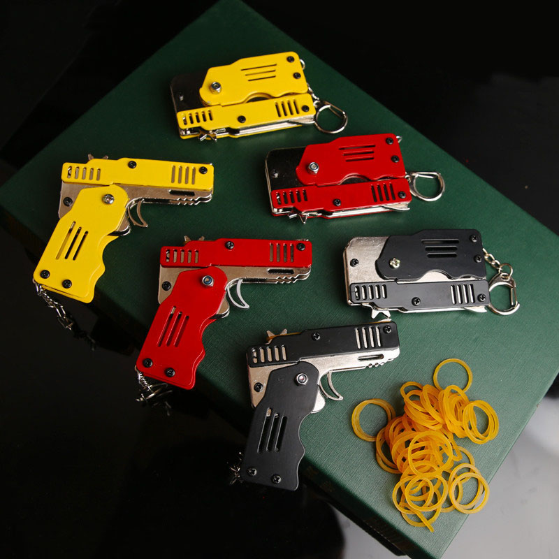 New Classic Metal Foldable Gun Rubber Bullet Rubber Band Launcher Rubber Band Gun Kids Fun Outdoor Game Shooter Toys