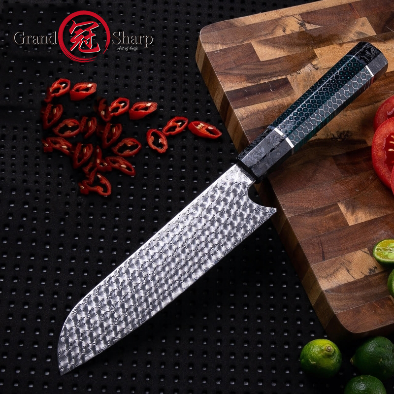 Handmade Kitchen Knife 110 Layers Damascus Steel Premium Santoku Kitchen Knives Japanese Style Knife with Gift Box Grandsharp image