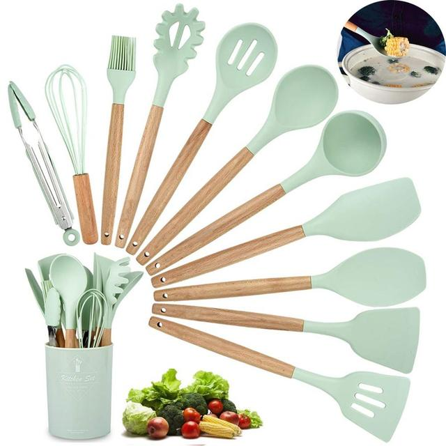 LMETJMA 11 Pcs Kitchen Cooking Utensil Set Silicone Cooking BakingT ools Set BPA Free Nonstick Cookware With Container KC0288 1