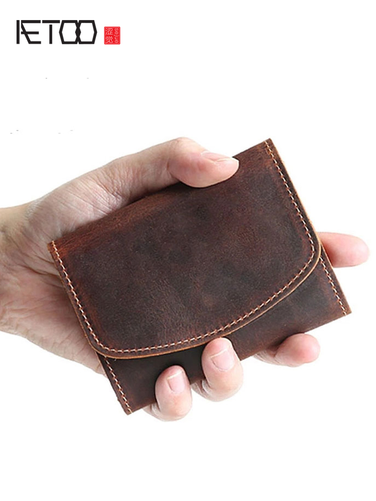 AETOO Short Wallet Cowhide-Clip Handmade Korean-Version Youth Men Head-Layer Multi-Function