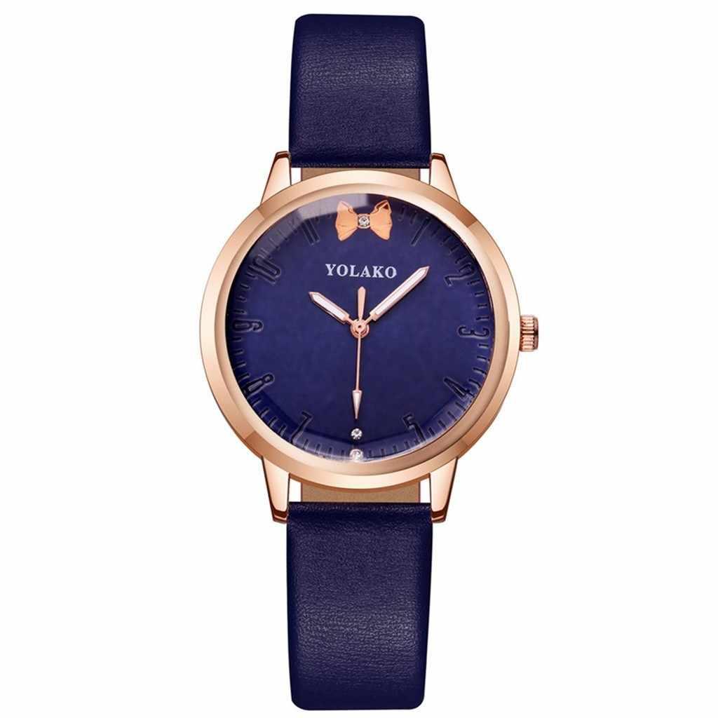 Nieuwe Mode Eenvoudige Persoonlijkheid Lederen Band Horloge Vrouwelijke Boog Quartz Casual Vrouwen Horloges Relogio Feminino