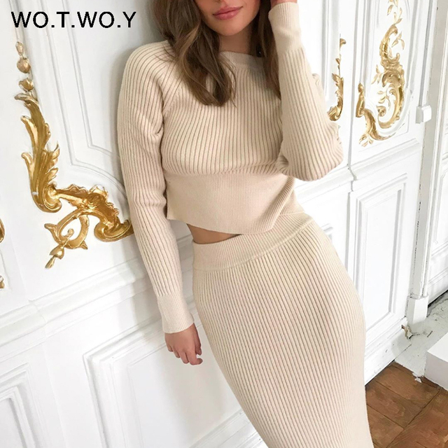Knitted Sweater and Skirt Two Piece Set Women