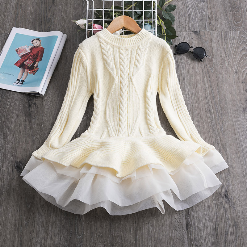 H80bce159cd4c4315ae5d6aedc547eb06a Xmas Winter Autumn Girl Dress Children Clothes Kids Dresses For Girls Party Dress Long Sleeve Knitted Sweater Toddler Girl Dress