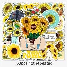 10/30/50PCS Card Cartoon Fresh Sunflower Graffiti Hand Account Luggage Helmet Decoration Waterproof Sticker Toy Wholesale