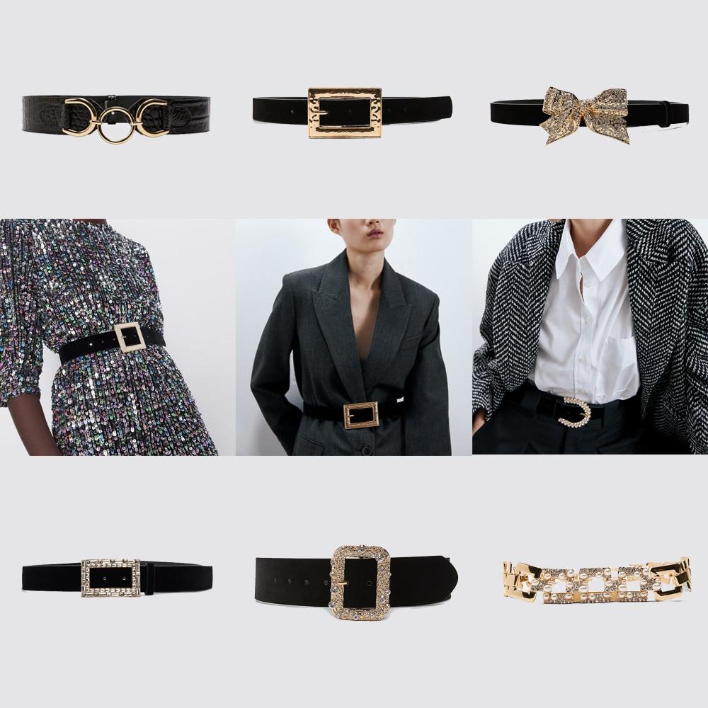 ZA Retro Pu Leather Belt Women Fashion Pearl Crystal Maxi Metal Waist Chain Gold Color Luxury Dress Jewelry 2020 New Charm BOHO
