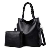 2 Set Knit Hand Bags Female 2019 Genuine Leather Women's Handbag Designer Large Messenger Bag Ladies Tote Bolsa Sac a main red