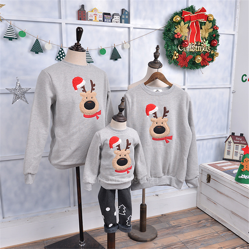 New Year Christmas Sweatshirt Family Look Matching Outfits Baby Girls Mother Daughter Grinch Winter Warm Velvet Xmas Clothes