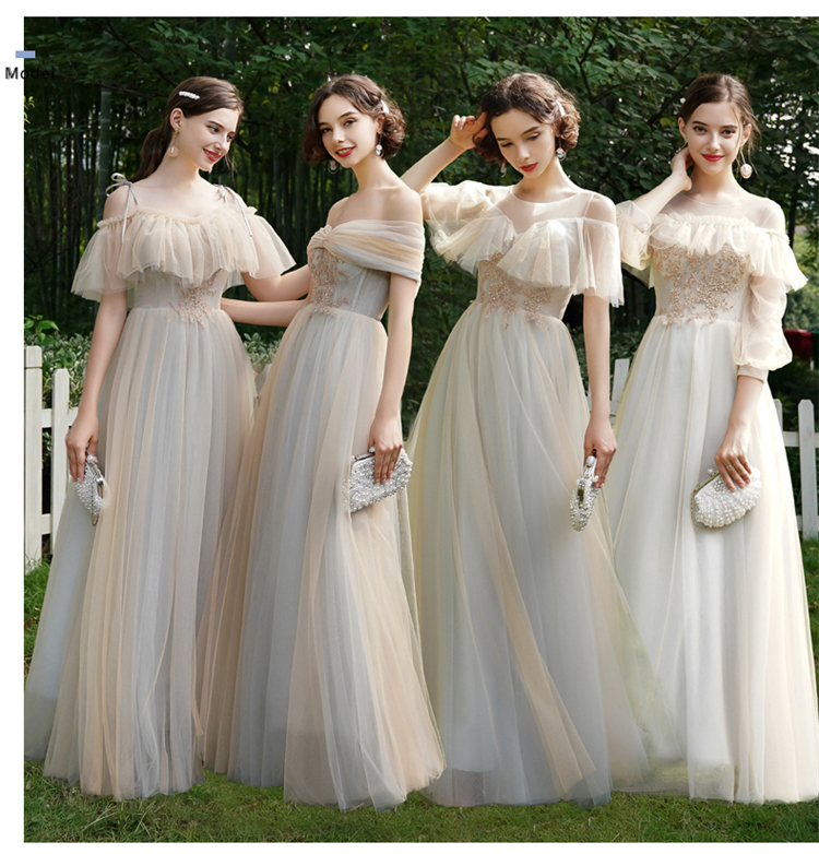 Beauty Bridesmaid Dresses 2019 Long Women Wedding Events Party Prom Dresses Lace Up A-Line Sleeveless Vestido Da Dama De Honra