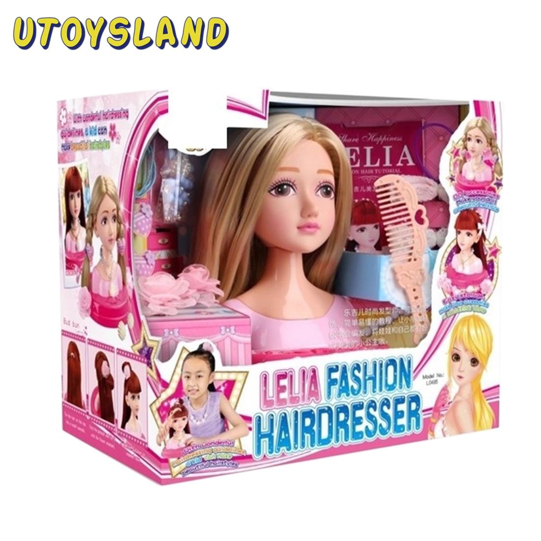 ผมจัดแต่งทรงผมตุ๊กตา Hairdressing จัดแต่งทรงผมการฝึกอบรมผม Braiding ปฏิบัติ Pretend Play Toy Make Up ของขวัญหญิง-น้ำตาล