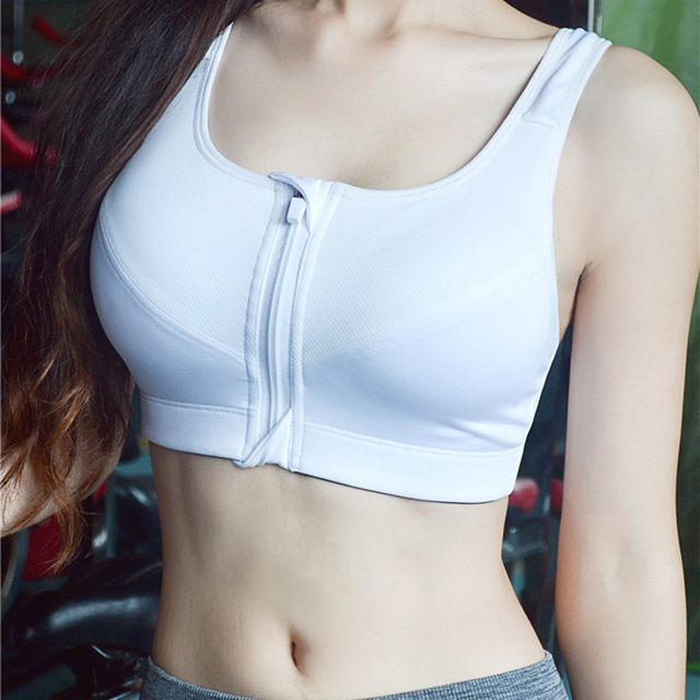 Hot Women Zipper Sports Bras  Female Gym Fitness Sports Underwear Plus Size XL Padded Wirefree Breathable Push up lingerie bh 25