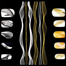 FlorVida 1 Sheet Gold Silver Series Wave Nail Stickes Art Self-adhesive Sticker 3D DIY Decal Manicure Decorations