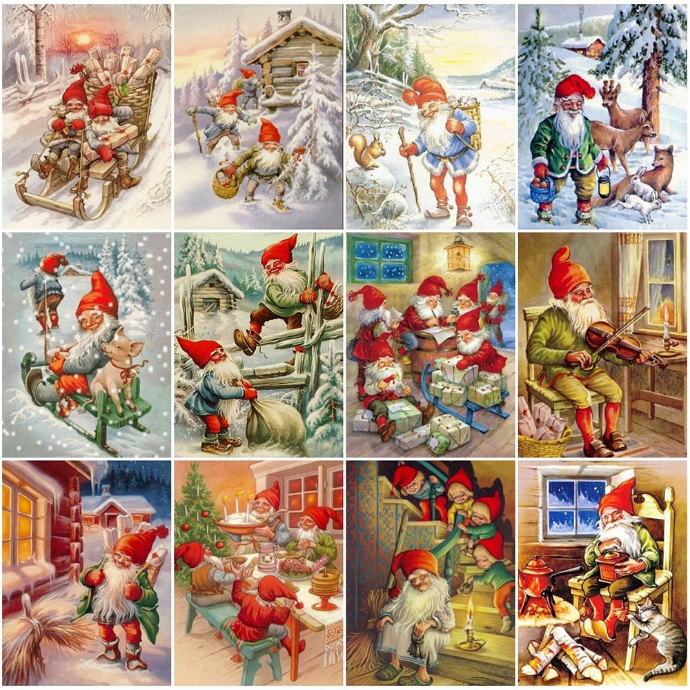 EverShine 5D фотография стены разы Алмазная вышивка зимний пейзаж Санта Клаус мозаика домашний декор