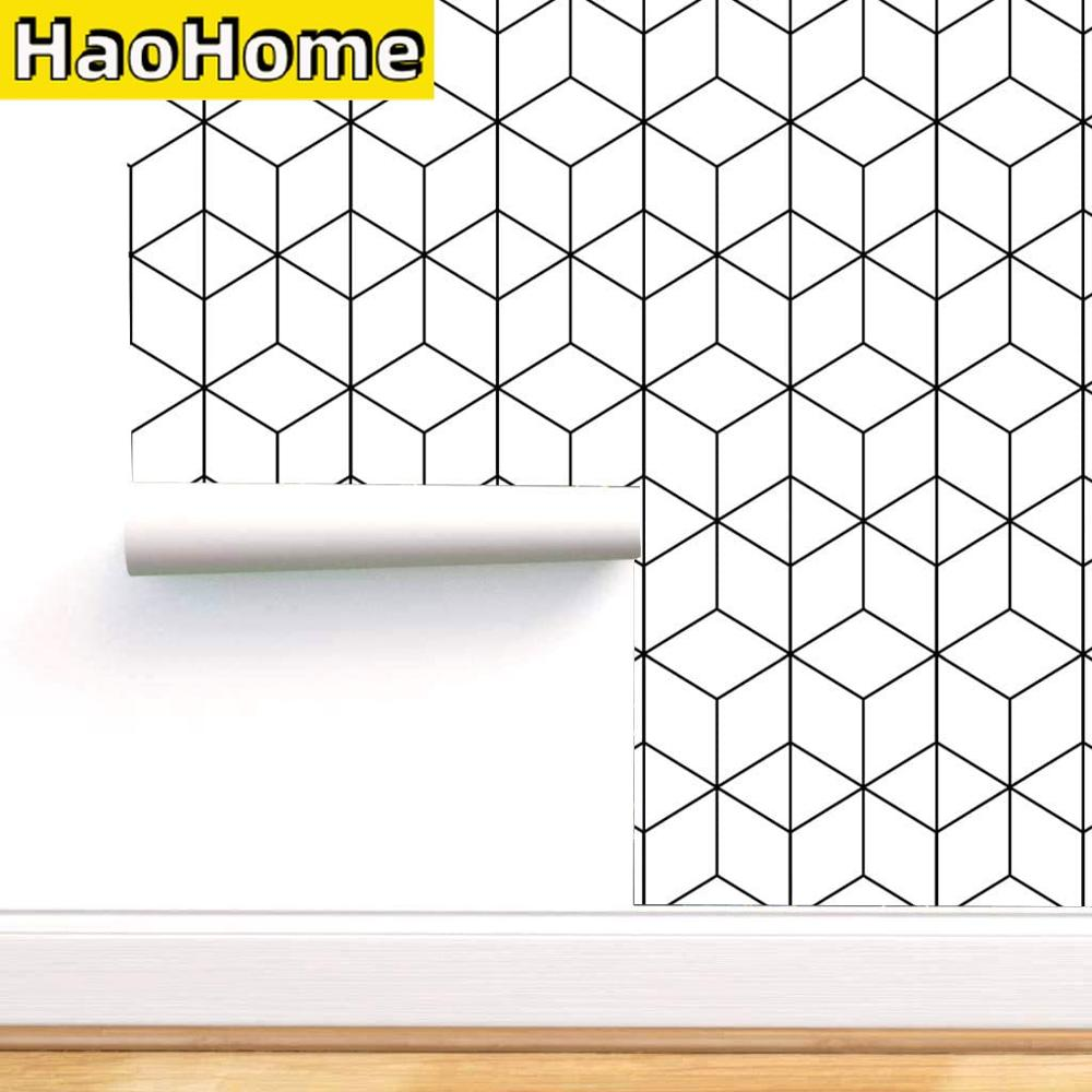 HaoHome Black and White Geometric Wallpaper Peel and Stick Hexagon Self Adhesive Wall Paper Drawer Liner Roll for Home Use