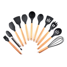 New 11pcs/set  cookware set silicone with stand spoon spatula tongs wooden sets